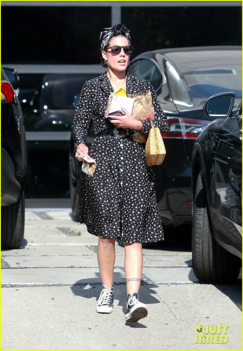 halsey looks cute in star print dress for trip to cvs 014465121