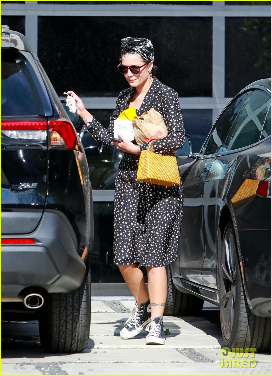 halsey looks cute in star print dress for trip to cvs 054465125