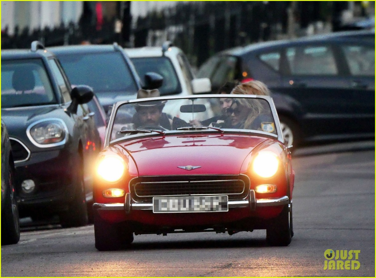 lily james piled into a two seat car with some celeb friends 024466273