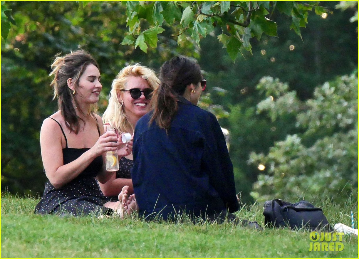lily james piled into a two seat car with some celeb friends 064466277