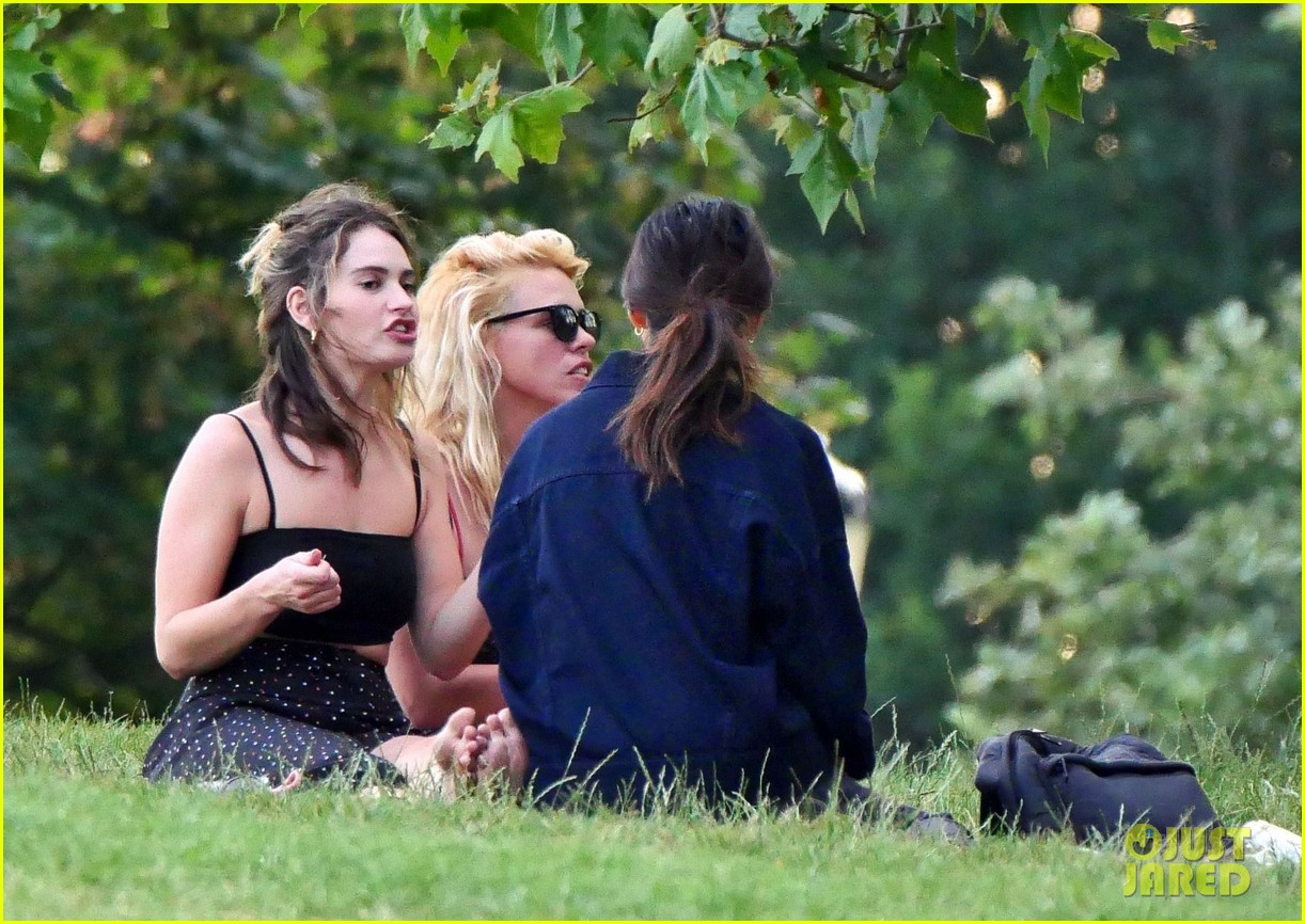 lily james piled into a two seat car with some celeb friends 354466306