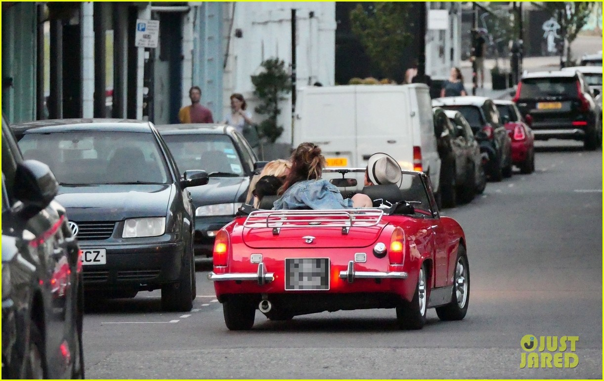 lily james piled into a two seat car with some celeb friends 574466328