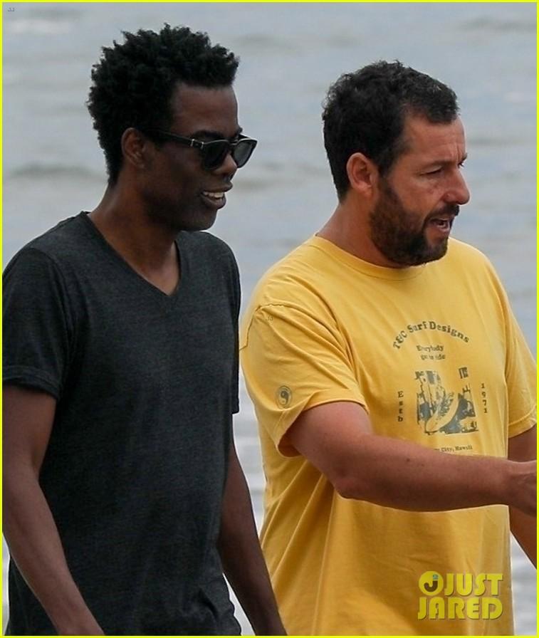 adam sandler meets up with chris rock walk on the beach 024464002
