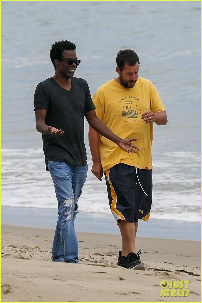 adam sandler meets up with chris rock walk on the beach 034464003
