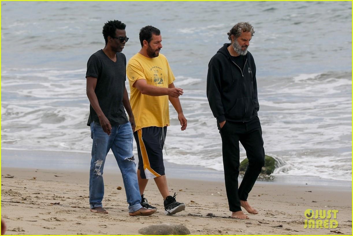 adam sandler meets up with chris rock walk on the beach 054464005