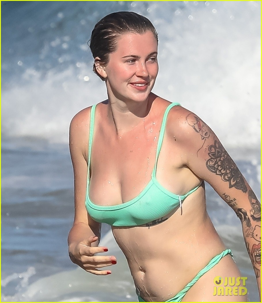 ireland baldwin mint green bikini day at the beach 024468872