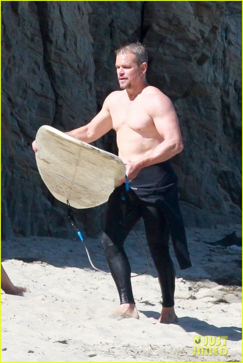 matt damon shirtless beach day 024474835