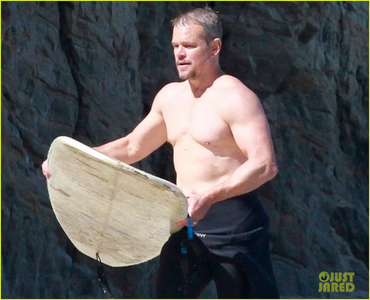 matt damon shirtless beach day 064474839