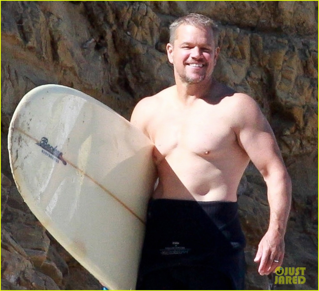 matt damon shirtless beach day 074474840