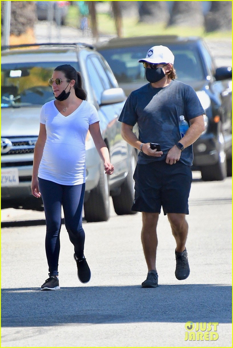 lea michele cozies up to zandy reich on morning walk 234474154