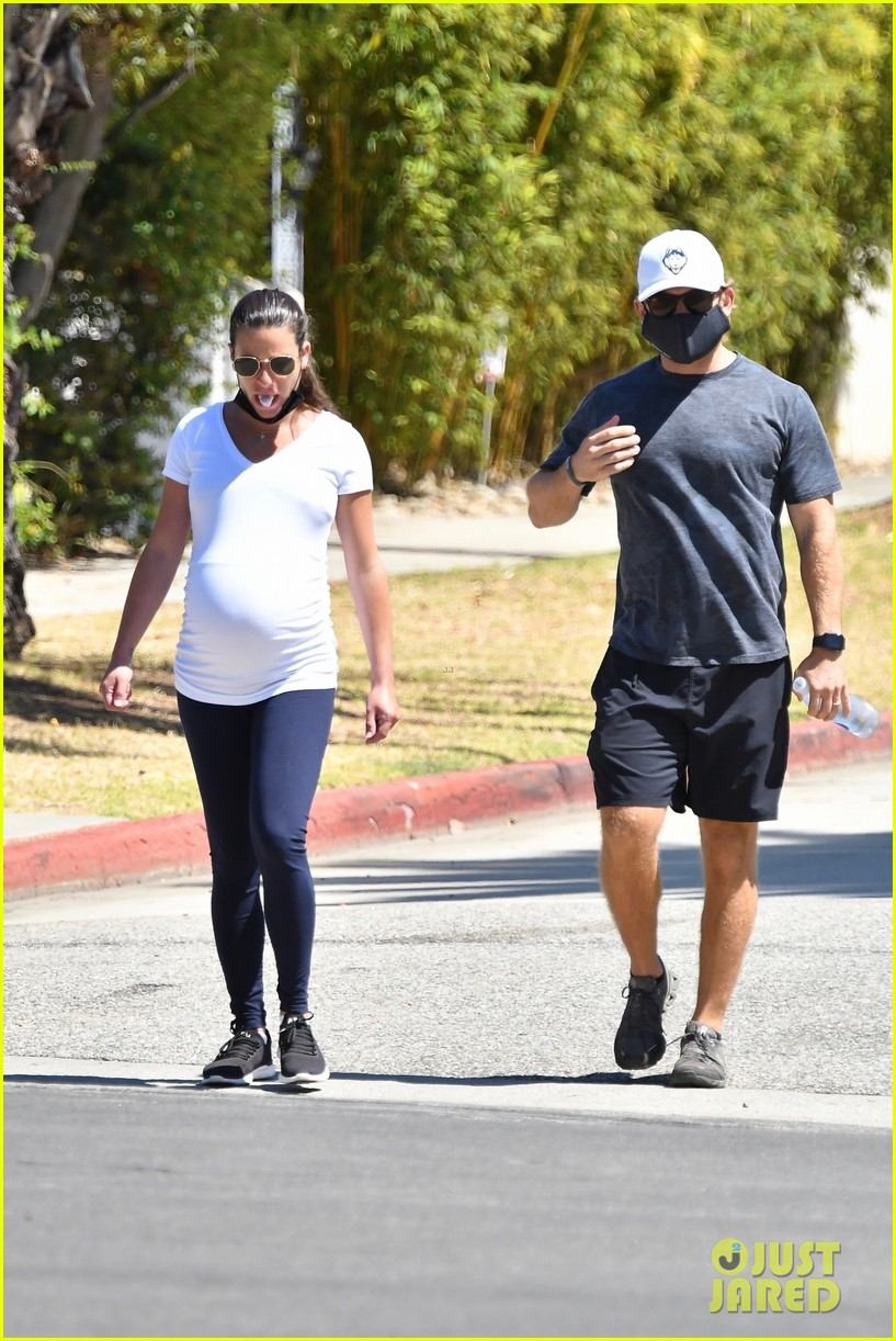 lea michele cozies up to zandy reich on morning walk 244474155