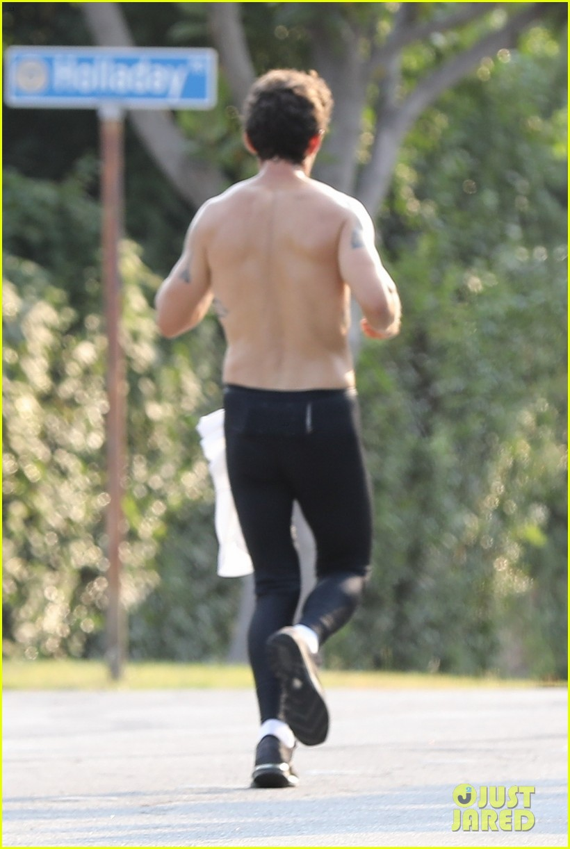 Shia LaBeouf Shows Off Full Tattooed Torso on a Run with