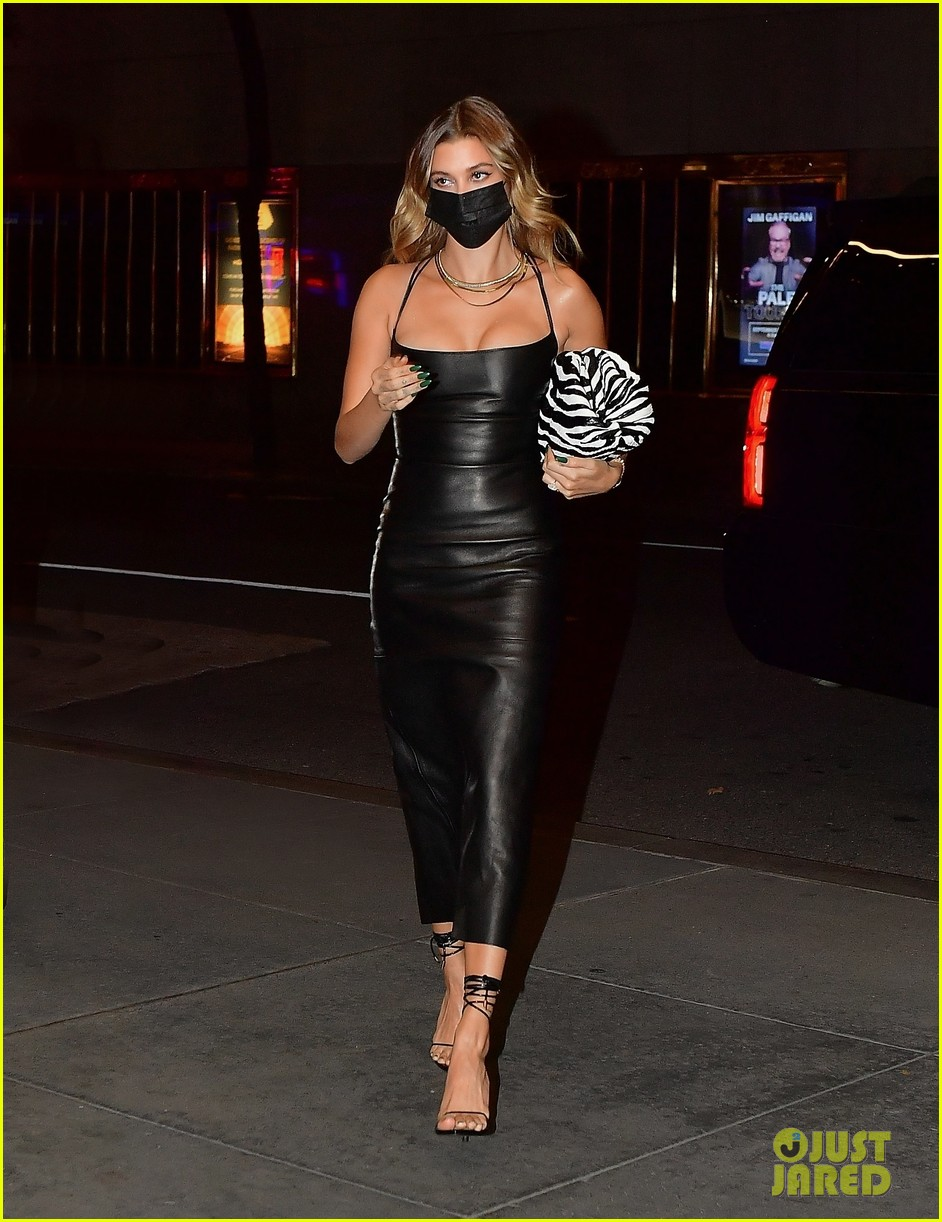 hailey bieber leather dress heading to snl 094493775