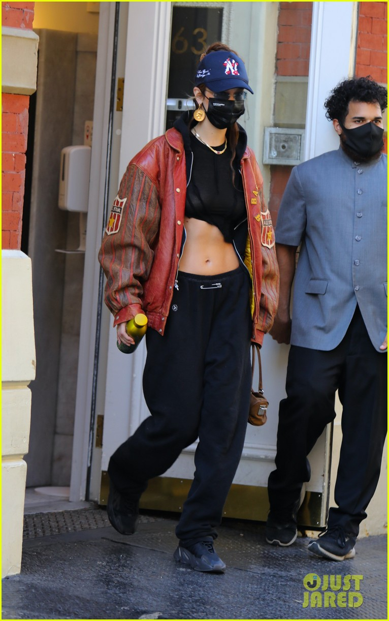 bella hadid shows midriff dinner out nyc  034502155