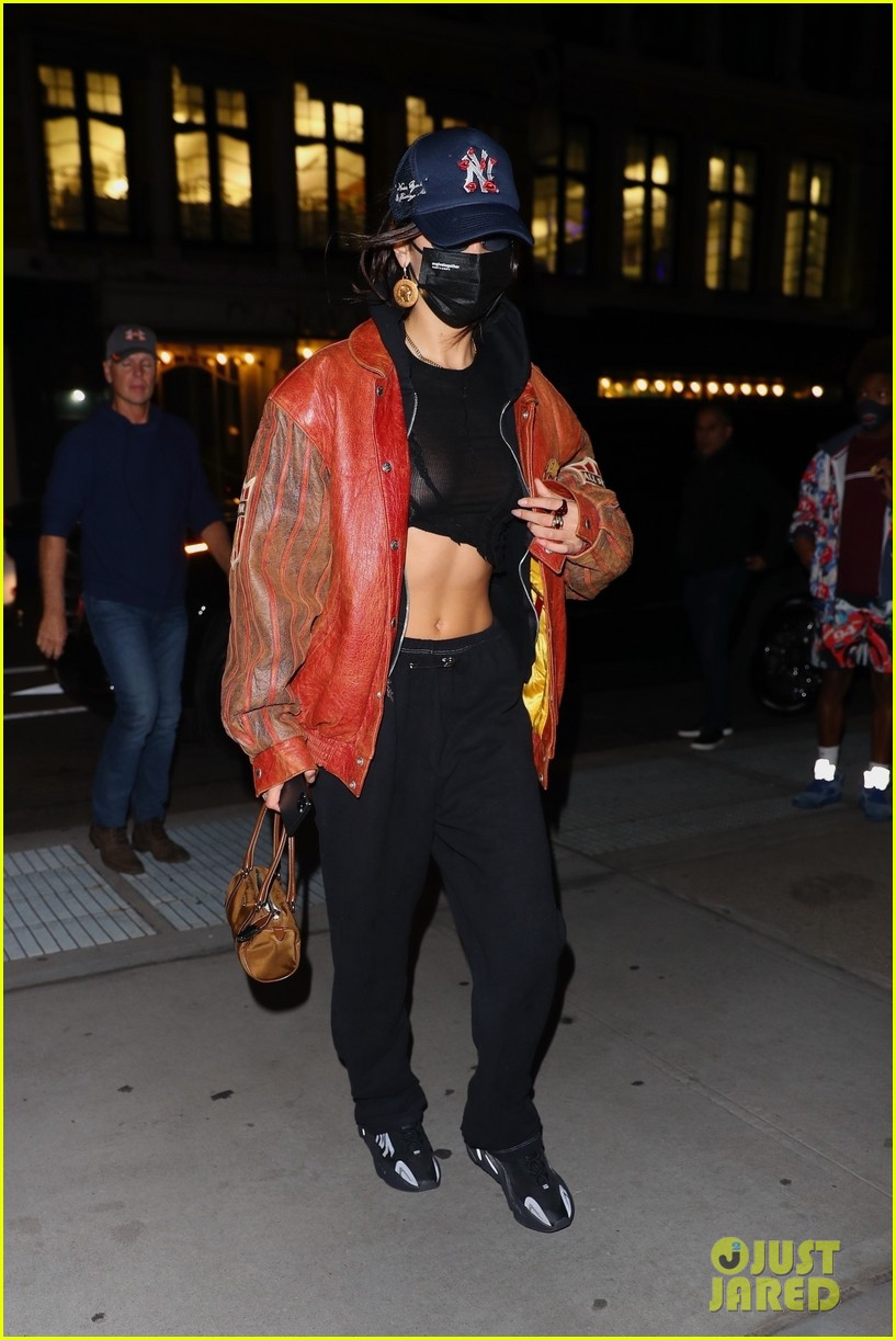 bella hadid shows midriff dinner out nyc  054502157