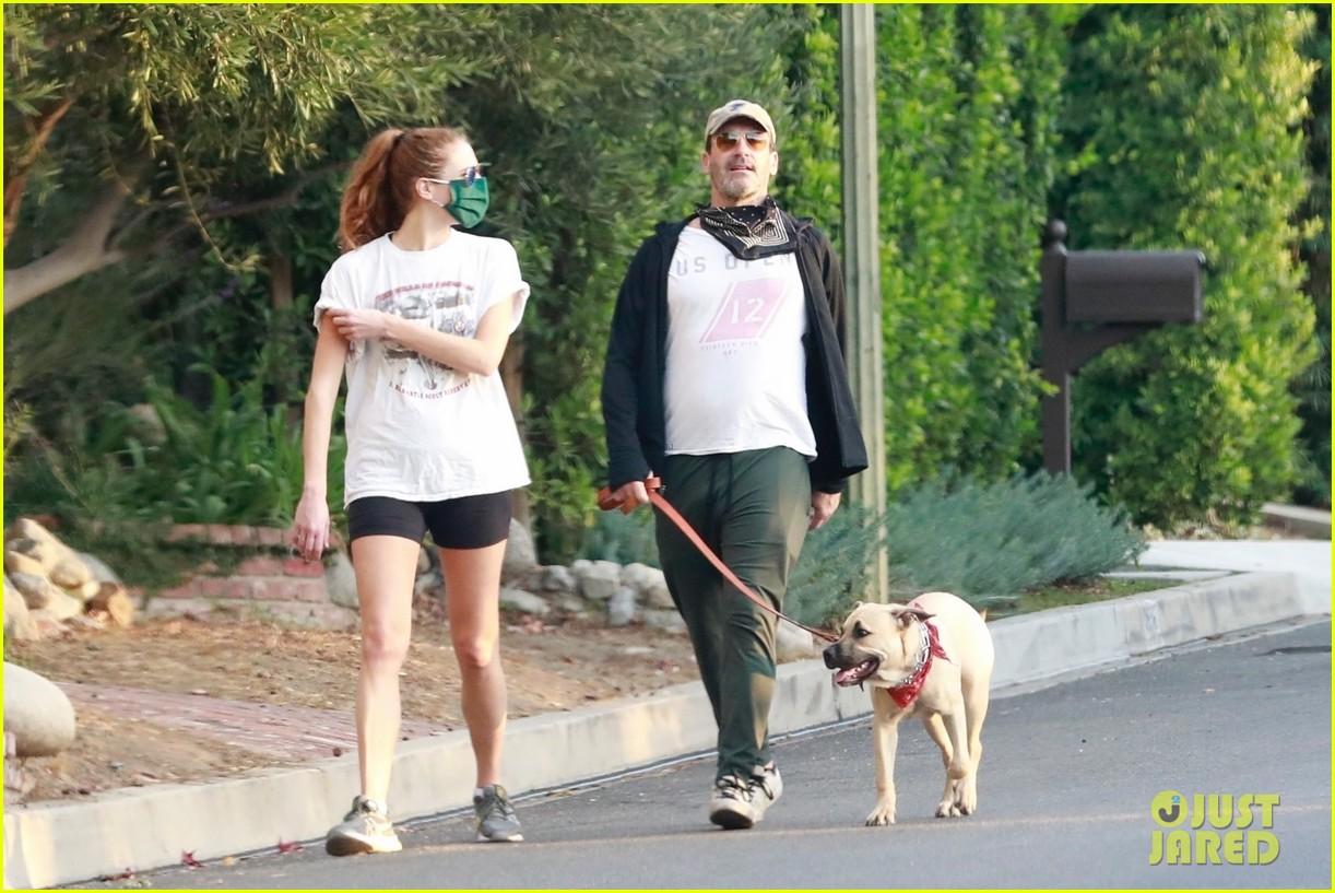 jon hamm anna osceola take his dog for a walk 034502423