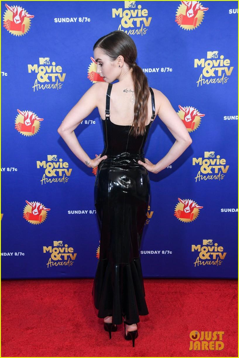 lily collins latex dress mtv awards 034506178
