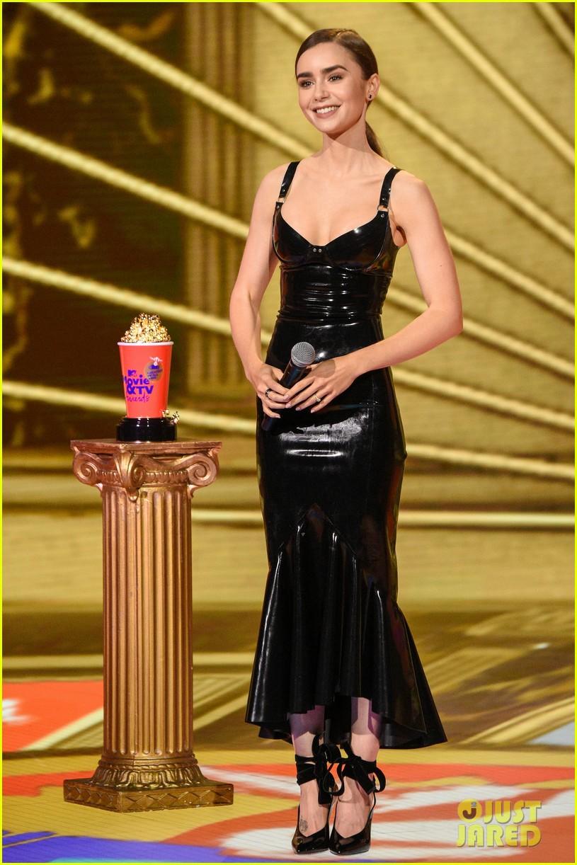 lily collins latex dress mtv awards 044506179