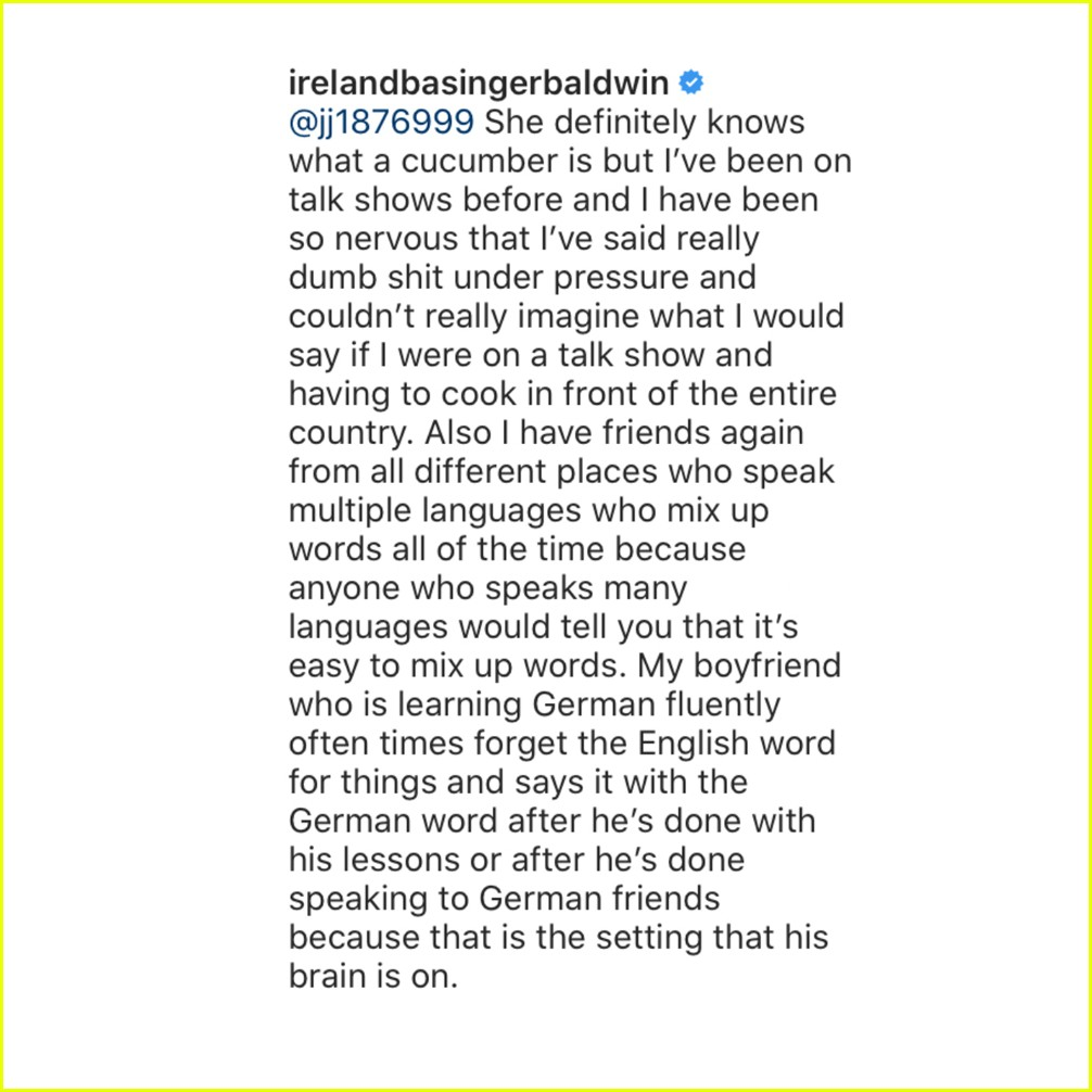 ireland baldwin explains hilaria baldwin cucumber moment 034512105