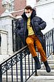 thomas doherty slides down a rail on gossip girl set 01