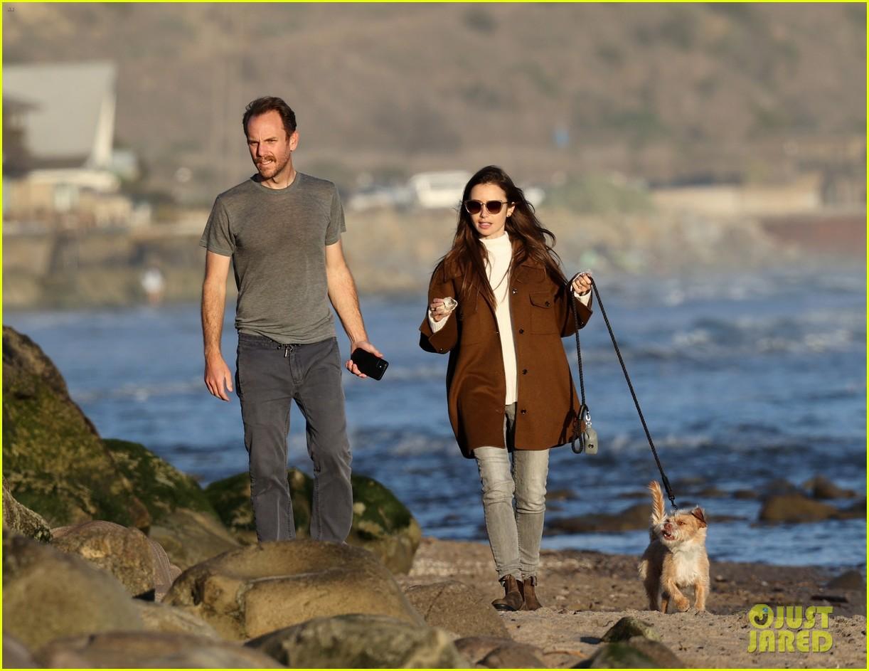 lily collins charlie mcdowell beach walk 094516079