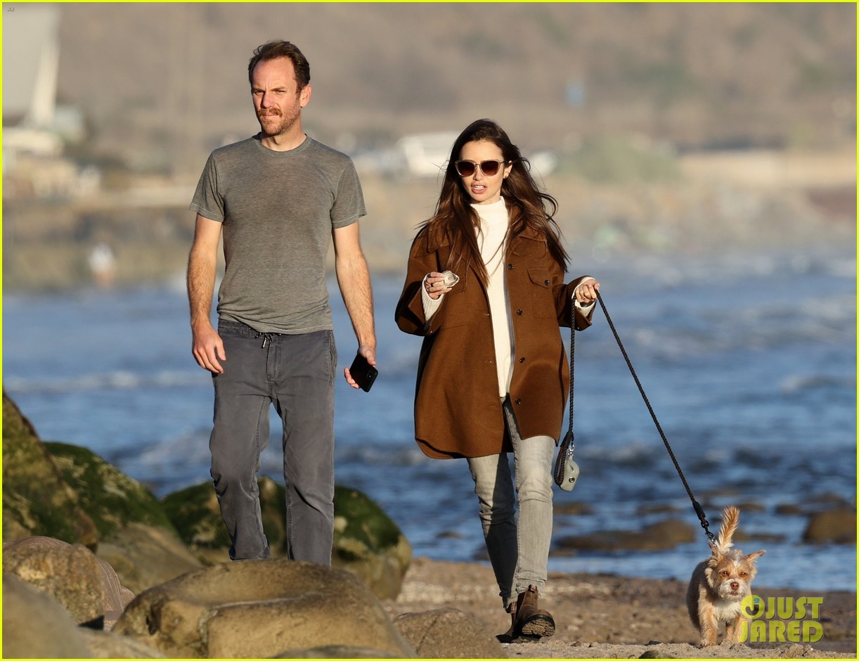 lily collins charlie mcdowell beach walk 114516081