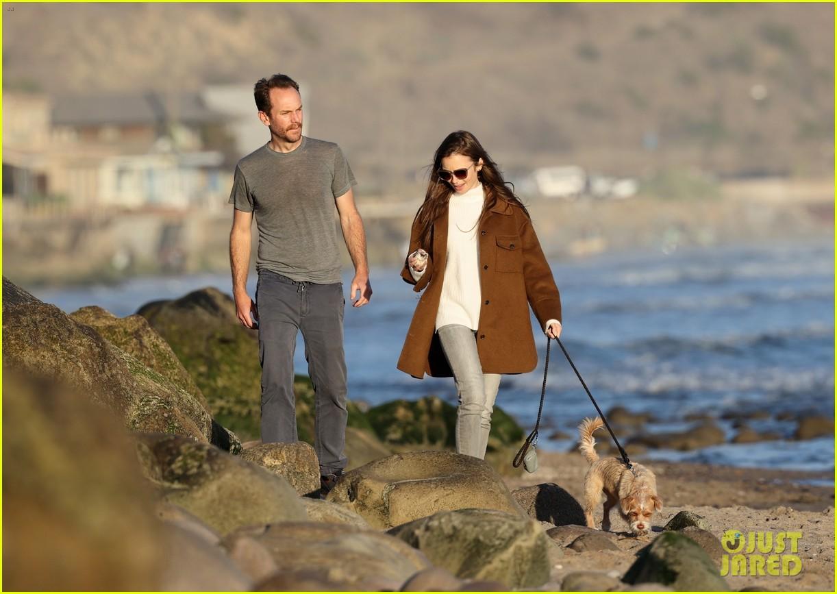 lily collins charlie mcdowell beach walk 164516086