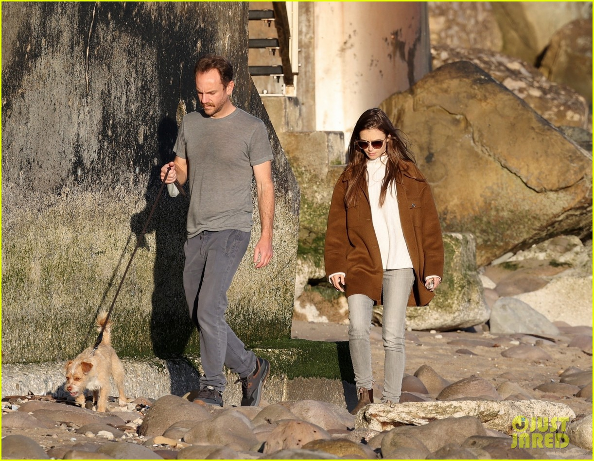 lily collins charlie mcdowell beach walk 214516091