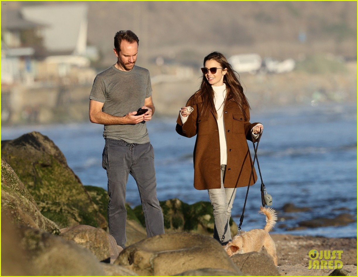 lily collins charlie mcdowell beach walk 244516094