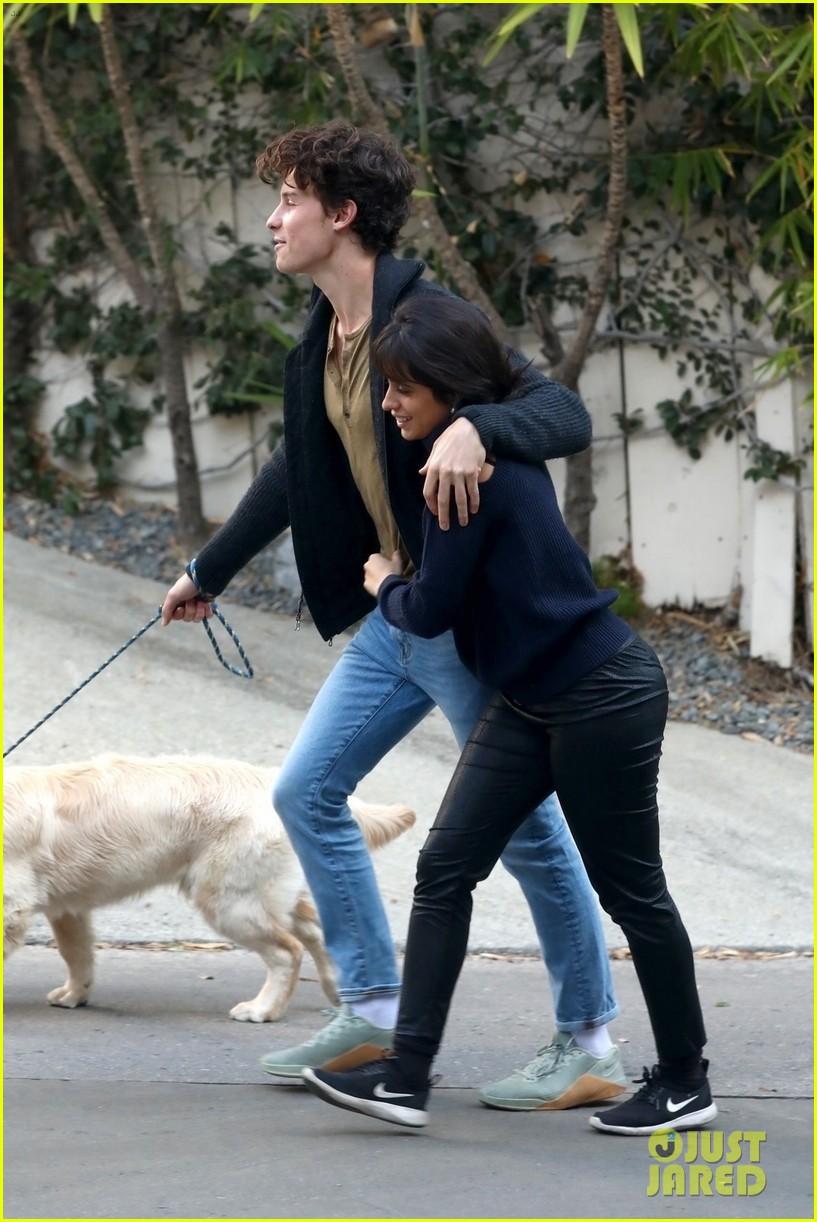 shawn mendes camila cabello share kiss walking dog 074535200