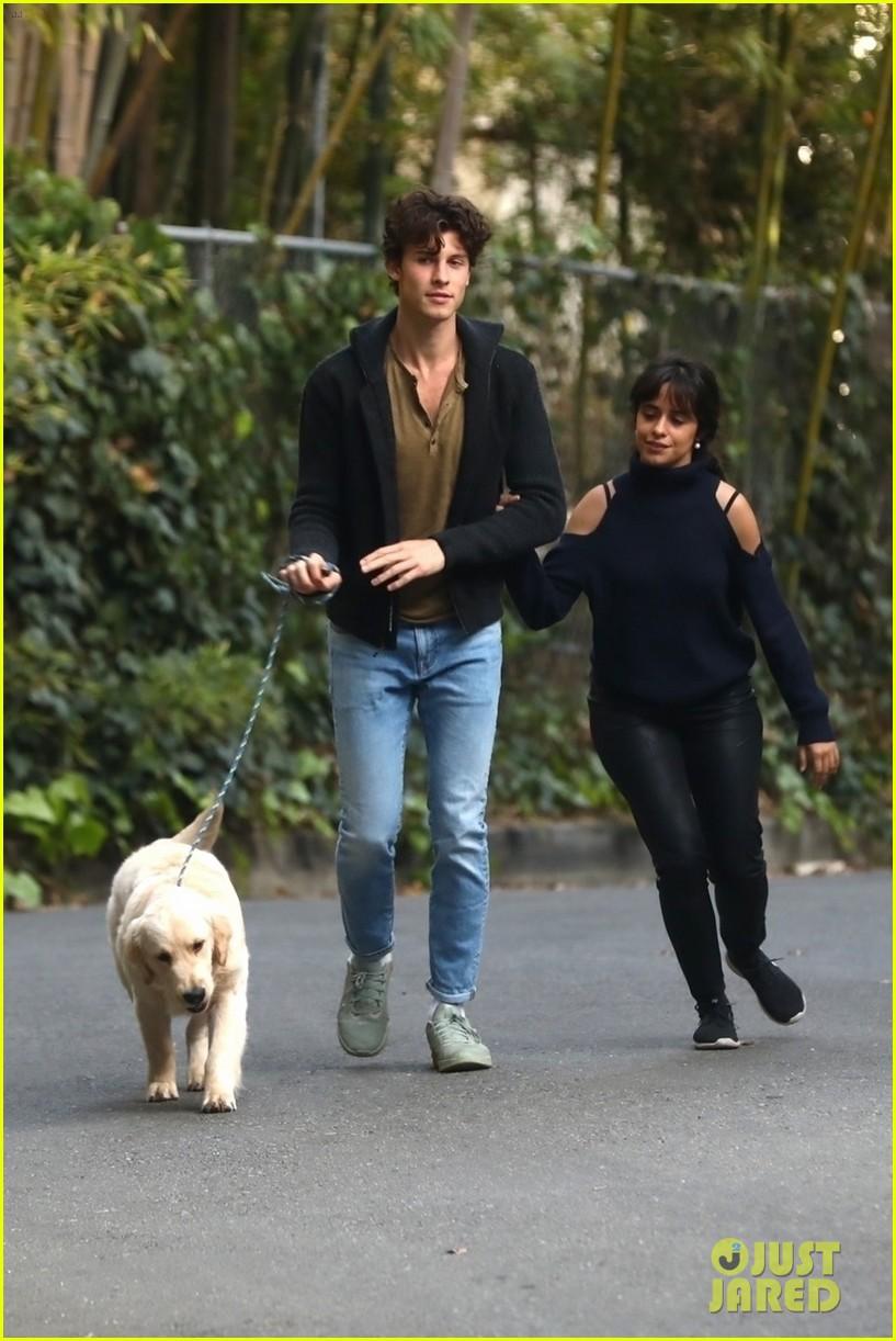 shawn mendes camila cabello share kiss walking dog 104535203