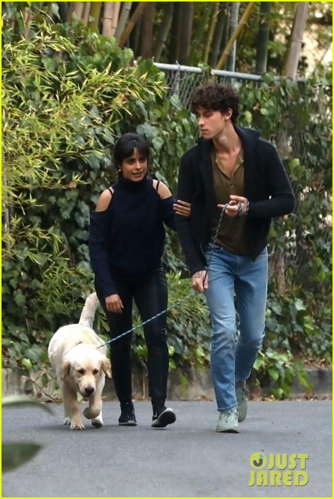 shawn mendes camila cabello share kiss walking dog 114535204