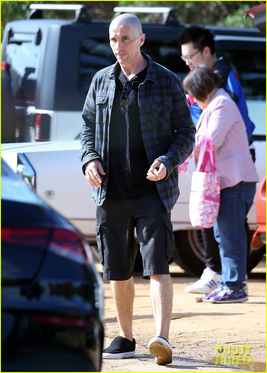 christian bale bald head in australia 124544746