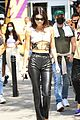 kendall jenner bares midriff leather pants suns lakers game 01