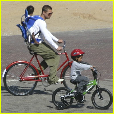 Brad Pitt Riding Bicycle With Maddox and Zahara
