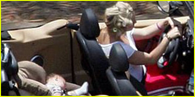 Britney Spears Driving With Curlers