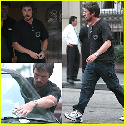 Christian Bale Gets Parking Ticket