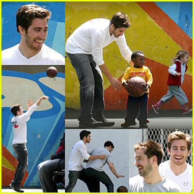 Jake Gyllenhaal Playing Basketball