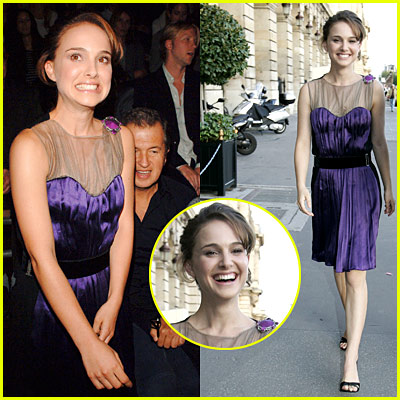 Natalie Portman Dons Purple in Paris