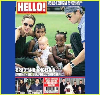 Brad, Angelina & Kids in Cambodia