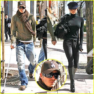 David Beckham Walks with a Cane