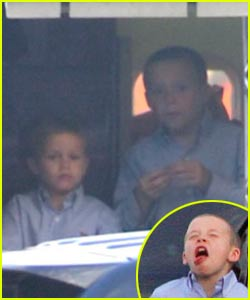 The Beckham Boys Wave Bye-Bye