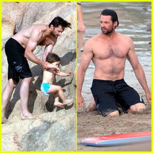 Hugh Jackman's Beach Bonding With Kids