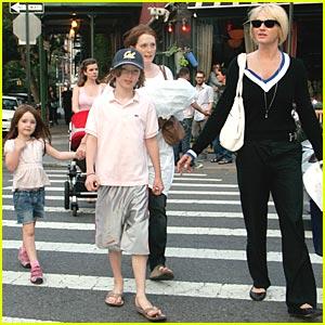 Julianne Moore & Auntie Ellen Barkin's City Stroll
