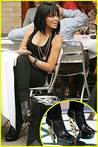 Rihanna Wears Her Brass Knuckle Boots in Public