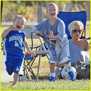 Romeo Beckham Hoses Down Baby Cruz