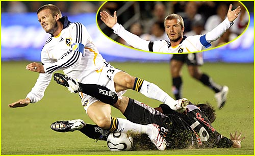 David Beckham Gets Kicked in the Nuts