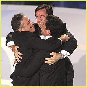 Colbert, Carell & Stewart Hug @ Emmys 2007