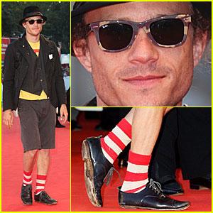Heath Ledger Wears Waldo's Socks