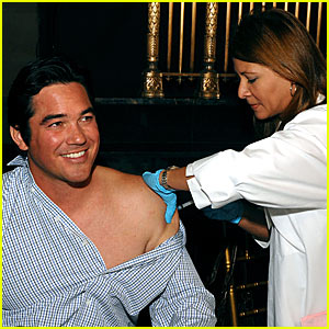 Dean Cain Gets a Flu Shot